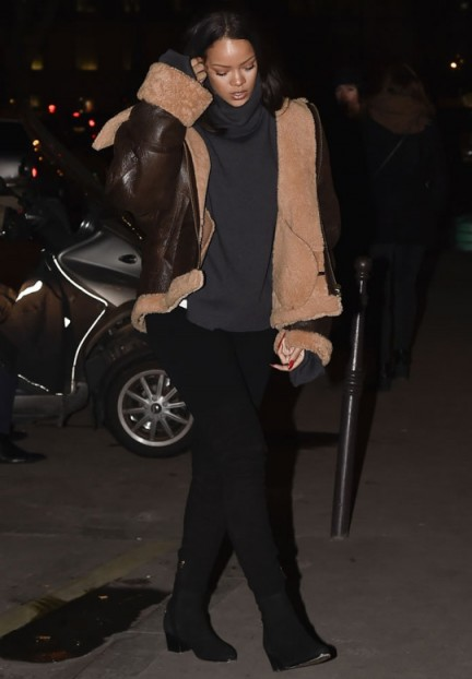 Rihanna in Paris in Chanel over the knee boots & Vetements Brown Leather Shearling Jacket