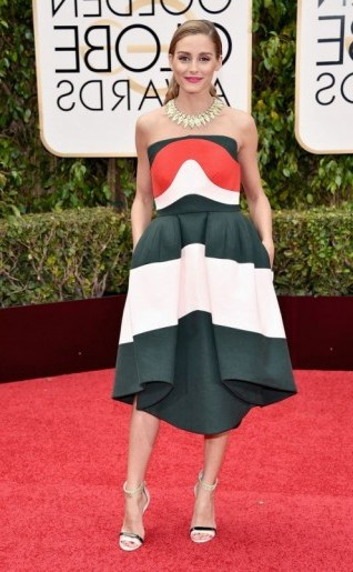 Olivia Palermo dressed in a strapless Delpozo dress with asymmetric hem, 10 January 2016 – Golden Globe Awards, Beverly Hilton Hotel, Beverly Hills, California. Celebrity fashion | star style | designer dresses | celebrities at red carpet events | Golden Globes - flipped