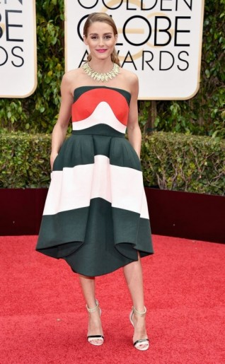 Olivia Palermo dressed in a strapless Delpozo dress with asymmetric hem, 10 January 2016 – Golden Globe Awards, Beverly Hilton Hotel, Beverly Hills, California. Celebrity fashion | star style | designer dresses | celebrities at red carpet events | Golden Globes