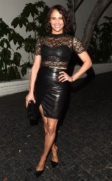 Paula Patton black Leather & lace
