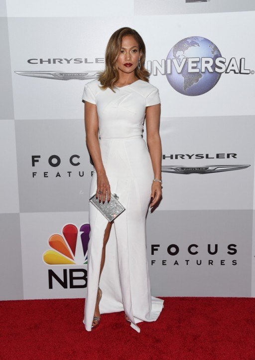 Jennifer Lopez Chose A White Cap Sleeved Bodycon Gown With Front S