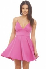 AX Paris plain plunge front skater dress in pink. Plunging necklines | low cut party dresses | deep V neckline