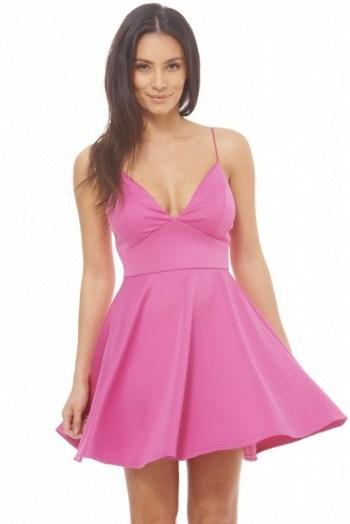 AX Paris plain plunge front skater dress in pink. Plunging necklines | low cut party dresses | deep V neckline - flipped