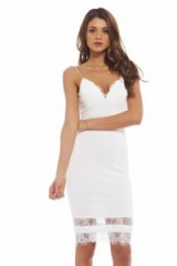 AX Paris plunge Front Eyelash Lace Midi Dress in cream. Plunging necklines | low cut party dresses | deep V neckline | low cut evening fashion