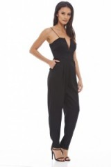 AX Paris Plunge Front Jumpsuit in black. Plunging necklines | evening jumpsuits | deep V neckline | party fashion | low cut