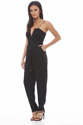AX Paris Plunge Front Jumpsuit in black. Plunging necklines   evening jumpsuits   deep V neckline   party fashion   low cut - flipped