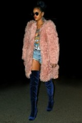 Rihanna pink fluffy coat & blue over the knee boots