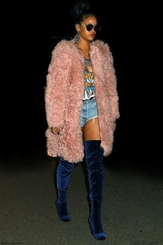 Rihanna pink fluffy coat & blue over the knee boots - flipped