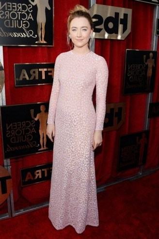 2016 SAG Awards red carpet gowns – Saoirse Ronan looked beautiful dressed in the palest pink floral, Michael Kors long sleeved semi sheer gown. Celebrity fashion | designer gowns | star style dresses | celebrities at events - flipped