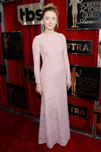 2016 SAG Awards red carpet gowns – Saoirse Ronan looked beautiful dressed in the palest pink floral, Michael Kors long sleeved semi sheer gown. Celebrity fashion | designer gowns | star style dresses | celebrities at events