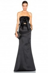 Such a beautiful look…SALLY LAPOINTE BONDED SATIN FRONT TIE BUSTIER & BONDED SATIN SCULPTED SKIRT in black. Designer fashion | occasion wear | event clothing | luxury outfits | elegant and chic