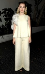 Actress Saoirse Ronan in cream & feathers ~ red carpet looks