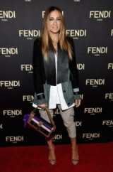 Sarah Jessica Parker at the FENDI opening of the New York flagship store on 13 February, 2015 in New York City ~ celebrity outfits ~ style icons ~ Fendi 3Baguette Bag