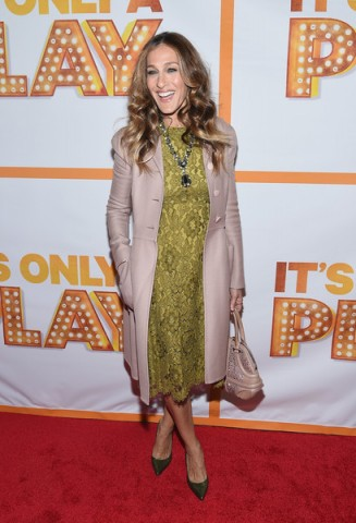 """Sarah Jessica Parker chose a lace Dolce & Gabbana dress & nude pink Valentino coat to attend the """"It's Only A Play"""" Broadway Re-Opening Night at The Bernard B. Jacobs Theatre on 23 January, 2015 in New York City ~ style icons ~ celebrity outfits ~ SJP"""