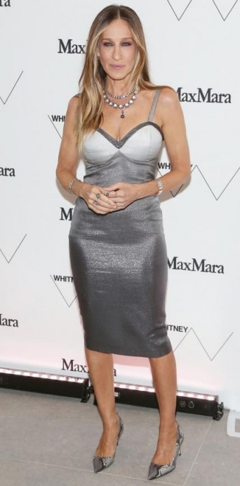 Sarah Jessica Parker wore a grey ombre Max Mara dress & a pair of snake print pumps to the opening of the new Whitney Museum in New York City, April 2015 ~ style icons ~ designer dresses ~ celebrity fashion