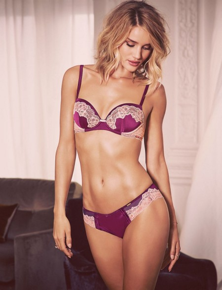 M&S – ROSIE FOR AUTOGRAPH Silk & Lace padded balcony bra & high leg knickers dark raspberry ~ Marks and Spencer lingerie ~ bras & briefs