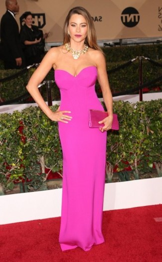 Sofía Vergara in Vera Wang – SAG Awards red carpet arrivals. Celebrity fashion | star style | designer gowns | celebrities at events - flipped