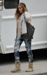 Sarah Jessica Parker on the set of Sex and the City 2 in Brooklyn, New York ~ style icons ~ celebrity fashion ~ embellished jeans