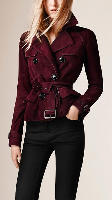 Suede trench jacket in elderberry ~ Burberry jackets ~ designer outerwear ~ casual luxe ~ chic style