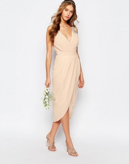 Tfnc wedding wrap embellished midi dress pale pink for Midi length wedding dress