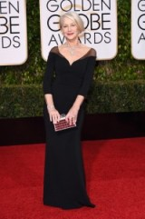 Dame Helen Mirren in Badgley Mischka, 10 January 2016 – Golden Globe Awards, Beverly Hilton Hotel, Beverly Hills, California. Celebrity fashion | star style | designer gowns | celebrities at red carpet events