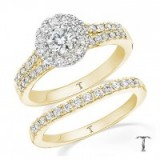 Tolkowsky 18ct gold 1ct round cut diamond bridal set ~ wedding & engagement rings ~ bling jewellery ~ jewels ~ make a statement