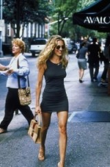 Carrie Bradshaw style wearing a blue tank mini dress, nude strappy heels and carrying a Gucci handbag ~ SATC dresses ~ Sex and the City fashion ~ Sarah Jessica Parker