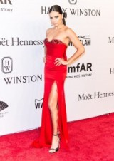 Adriana Lima in Marchesa at the amfAR Gala in New York, February 2016 – red strapless gowns – red carpet dresses – celebrity fashion – stars at events