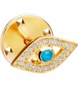 ASTLEY CLARKE Evil eye biography 18ct yellow gold-plated vermeil, sapphire and turquoise pin ~ brooches ~ jewellery ~ gemstone pins