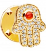 ASTLEY CLARKE Hamsa biography 18ct yellow gold-plated vermeil, sapphire and carnelian pin ~ gemstone pins ~ jewellery ~ brooches