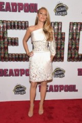 Blake Lively looks a dream wearing this Chanel one shoulder jewelled dress at the Deadpool fan event in New York City, February 2016 – celebrity dresses – stars at film events – designer gowns – jewel embellished – red carpet events