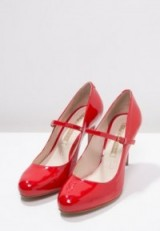 Buffalo red patent Mary Jane shoes. Classic Mary Janes ~ high heels