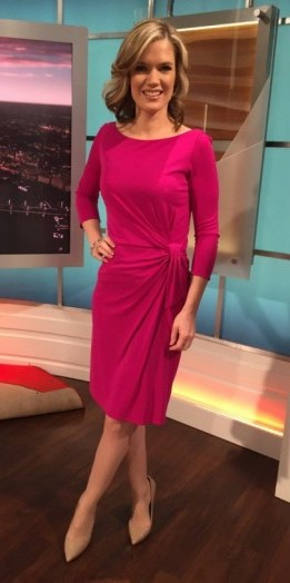Pink Issa dress and Office.co.uk shoes – Charlotte Hawkins - flipped
