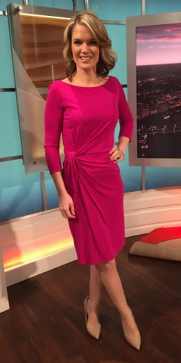 Pink Issa dress and Office.co.uk shoes – Charlotte Hawkins