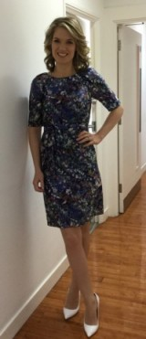 Charlotte Hawkins showing a bit of leg in a LKBennett.com dress and Office.co.uk shoes #fabprint