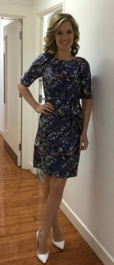 Charlotte Hawkins showing a bit of leg in a LKBennett.com dress and Office.co.uk shoes #fabprint - flipped
