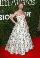 Emilia Fox attended the London Evening Standard British Film Awards dressed in a romantic strapless floral embroidered Bambah gown featuring a full skirt and glittering jewels by De Beers. Celebrity fashion | celebrities at events | star style | red carpet gowns