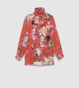 I love this blouse with its bold floral print and high neck featuring a feminine pussy bow…gorgeous!…GUCCI blooms print shirt in sienna silk georgette. Chic blouses | designer shirts | dress up or down