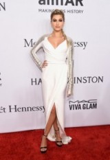 Hailey Baldwin in a white & silver Pamella Roland gown at the amfAR Gala in NYC, February 2016 – red carpet gowns – celebrity dresses – star style fashion