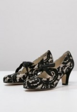KMB black & nude lace vintage style Mary Janes. Mary Jane shoes ~ 1920s style footwear ~ 20s look mid heels ~ tie front ~ bow detail