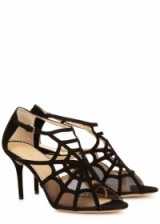 CHARLOTTE OLYMPIA Lotte black web suede sandals – as worn by actress Tuppence Middleton at the 2016 Evening Standard British Film Awards. Celebrity fashion | what celebrities wear | designer shoes | star style