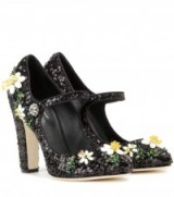 DOLCE & GABBANA Embellished Mary Jane pumps ~ floral embellishments ~ designer Mary Janes ~ luxury high heels ~ luxe style footwear