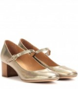 ISABEL MARANT Étoile Louanne embossed metallic leather Mary Jane pumps ~ metallics ~ designer Mary Janes ~ mid heel shoes