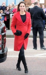 Catherine Duchess of Cambridge ~ Kate Middleton pregnancy style ~ royal fashion ~ kate's maternity wardrobe ~ red Armani coat black boots