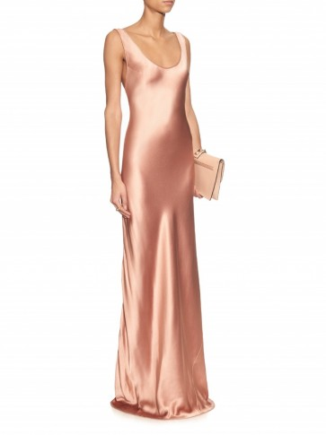 Galvan Bias Cut Silk Satin Gown In Rose Gold Slip Dresses