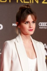 Emma Watson's high bun and fringe – celebrity hairstyles