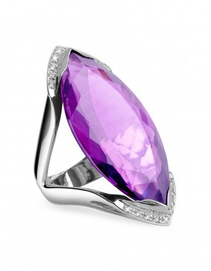 FORZIERI Amethyst and Diamond White Gold Fashion Ring ~ bling rings ~ make a statement jewellery - flipped
