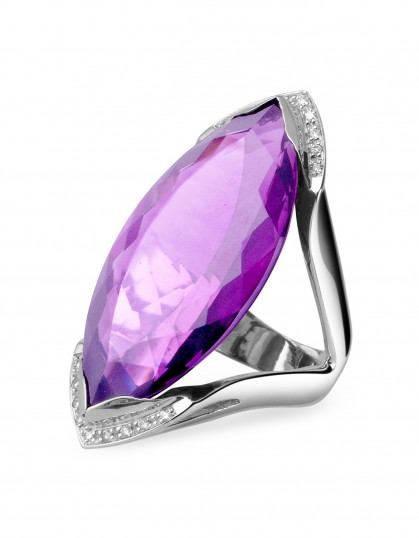 FORZIERI Amethyst and Diamond White Gold Fashion Ring ~ bling rings ~ make a statement jewellery