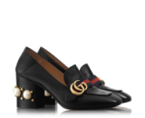 GUCCI leather mid-heel loafer in black with pearls and studs on heel – as worn by Alexa Chung in New York, 4 March 2016. Celebrity fashion   casual star style   designer shoes   what celebrities wear