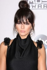 Kendall Jenner's topknot and sleek fringe ~ celebrity hairstyles